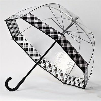 BLACK And WHITE PLAID Trim Clear Dome See Through Bubble Umb