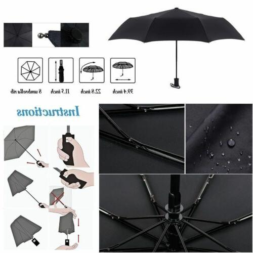 Black Automatic Travel Umbrella Auto Close Compact Folding Rain