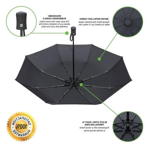 Black Automatic Umbrella Auto Folding Rain