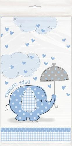 "Blue Elephant Boy Baby Shower Plastic Tablecloth, 84"" x 54"""