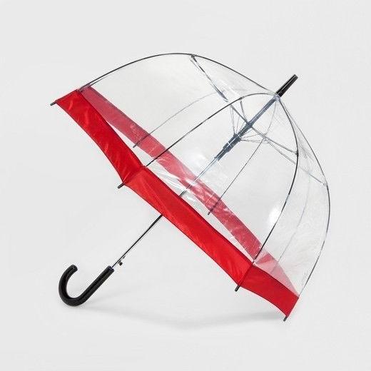 Brand New ShedRain Bubble Umbrella - Clear Red Border