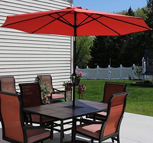Sunnydaze Orange Aluminum 9 Umbrella with