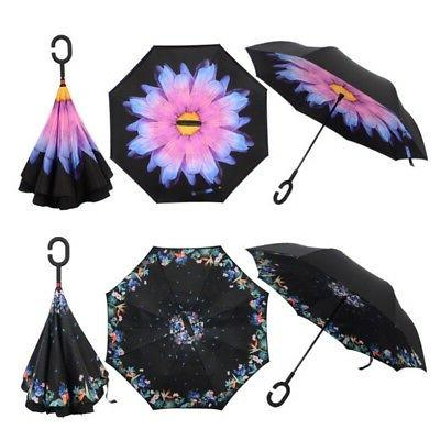 Double Layer Upside Down Inverted Umbrella C-handle Reverse-