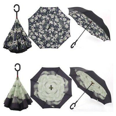 US Upside Down Reverse- Umbrella C-Handle Double Layer out
