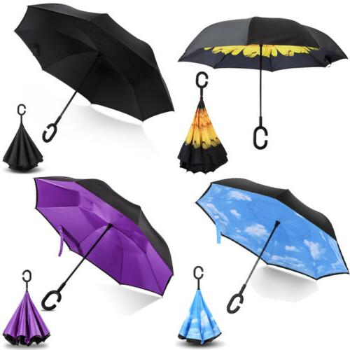 c handle folding inverted umbrella double layer