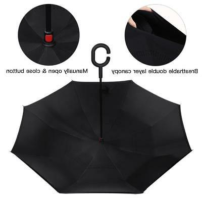 C-Handle Folding Windproof Umbrella Double Layer Inverted