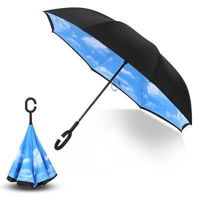 C-Handle Folding Parasols Rain Windproof Umbrella Double Layer Inverted Reverse