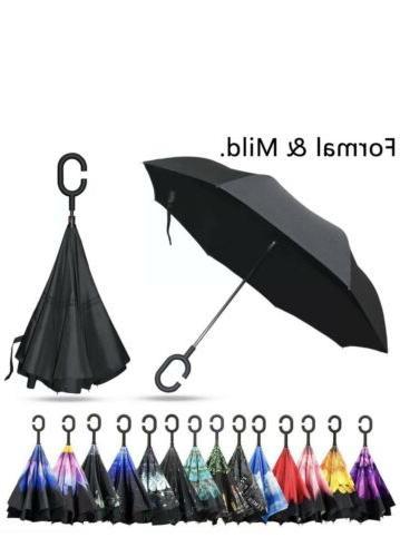 C-Hook Handle Layer Windproof Umbrella Inverted Black