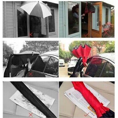 C-Hook Hands Free Reverse-Design Double Umbrella