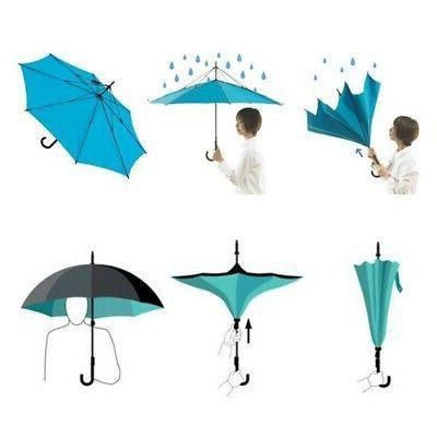C-Hook Free Handle Reverse-Design Umbrella Inverted