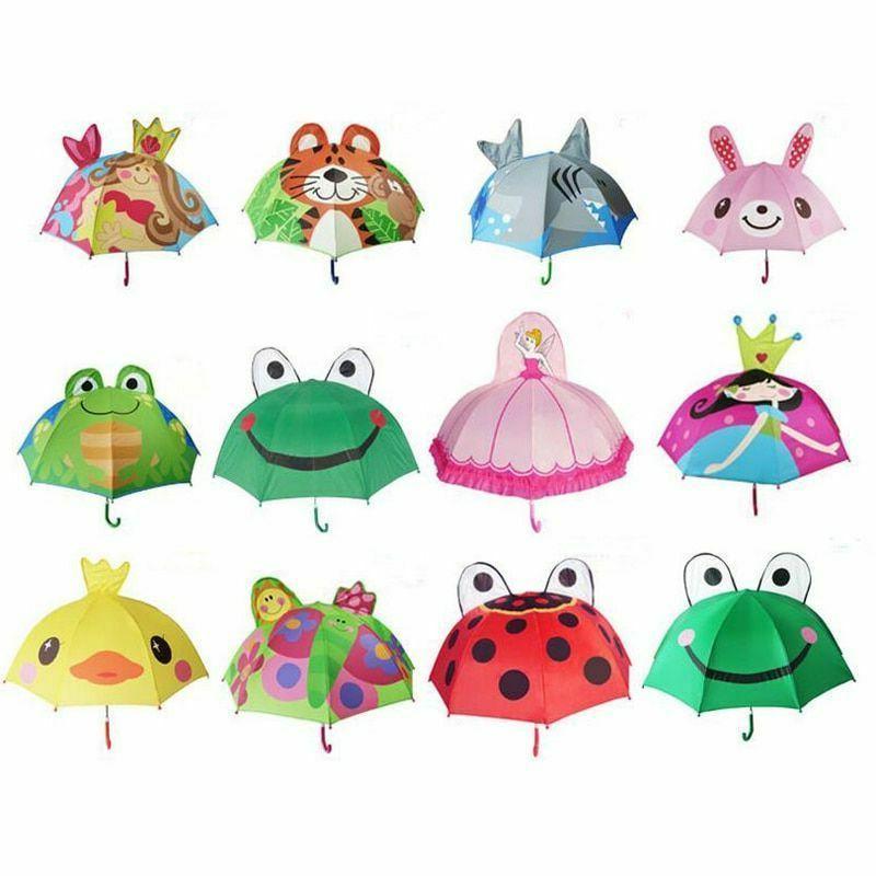 cartoon children umbrella animation long handled 3d