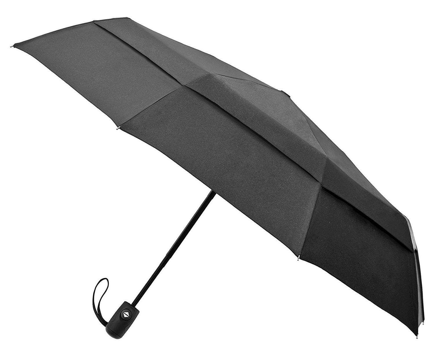 compact travel umbrella w windproof double construction