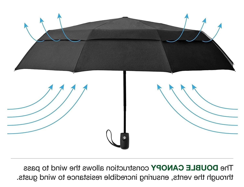 Compact Umbrella w/Windproof Double Canopy Auto Open/Close
