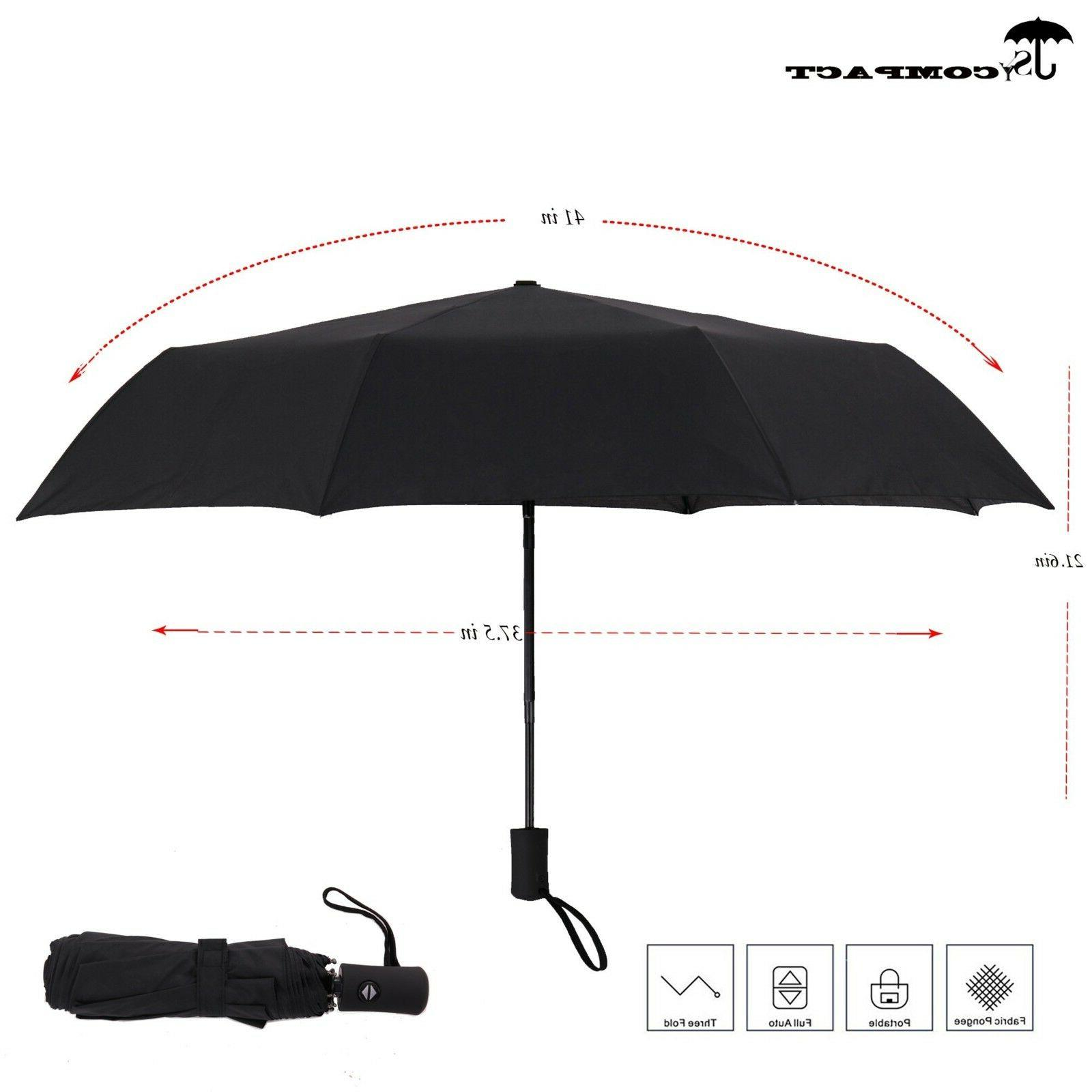 Compact Travel Umbrella Auto Light Weight Unbreakable NEW