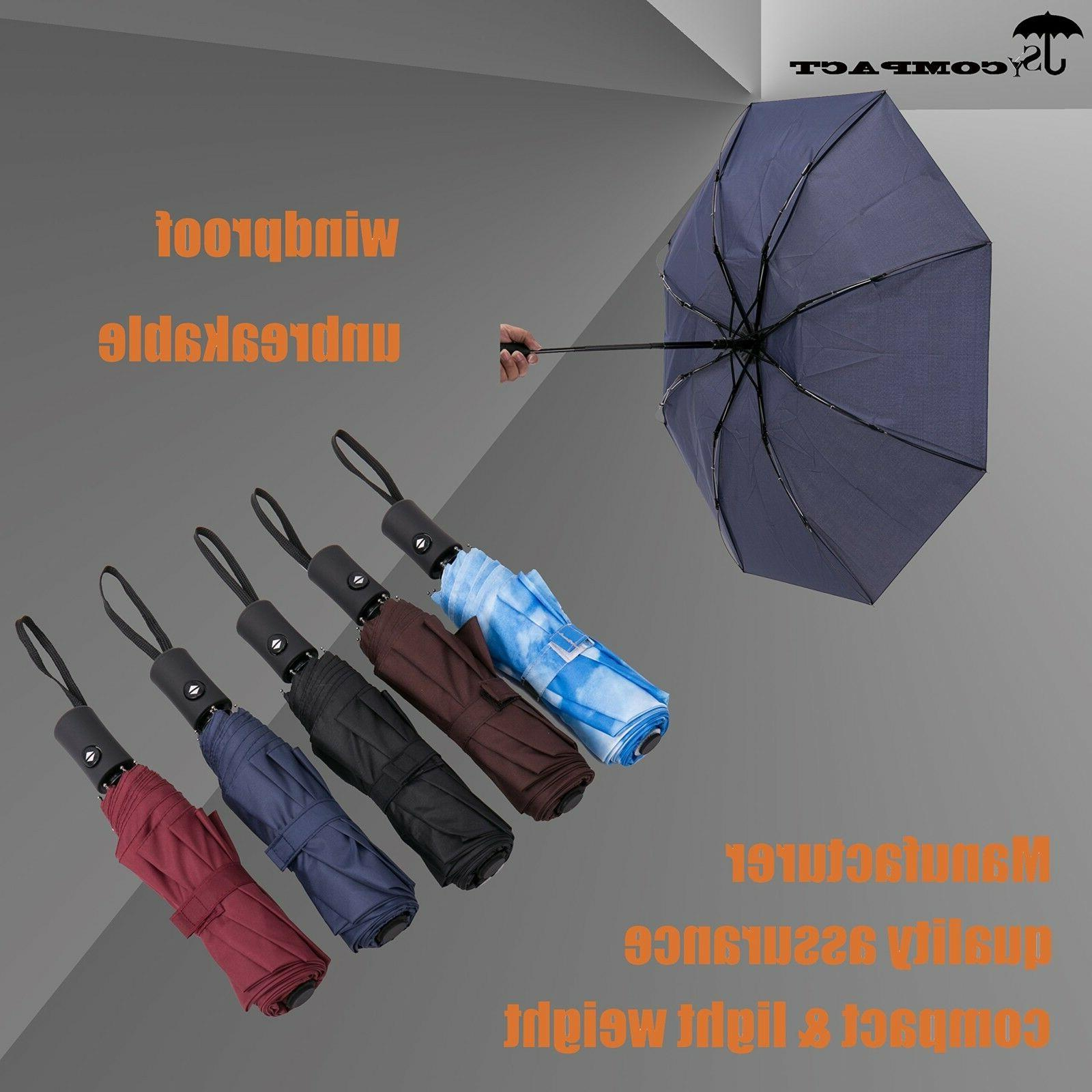 Compact Travel Umbrella Windproof Auto Open Close Weight Unbreakable