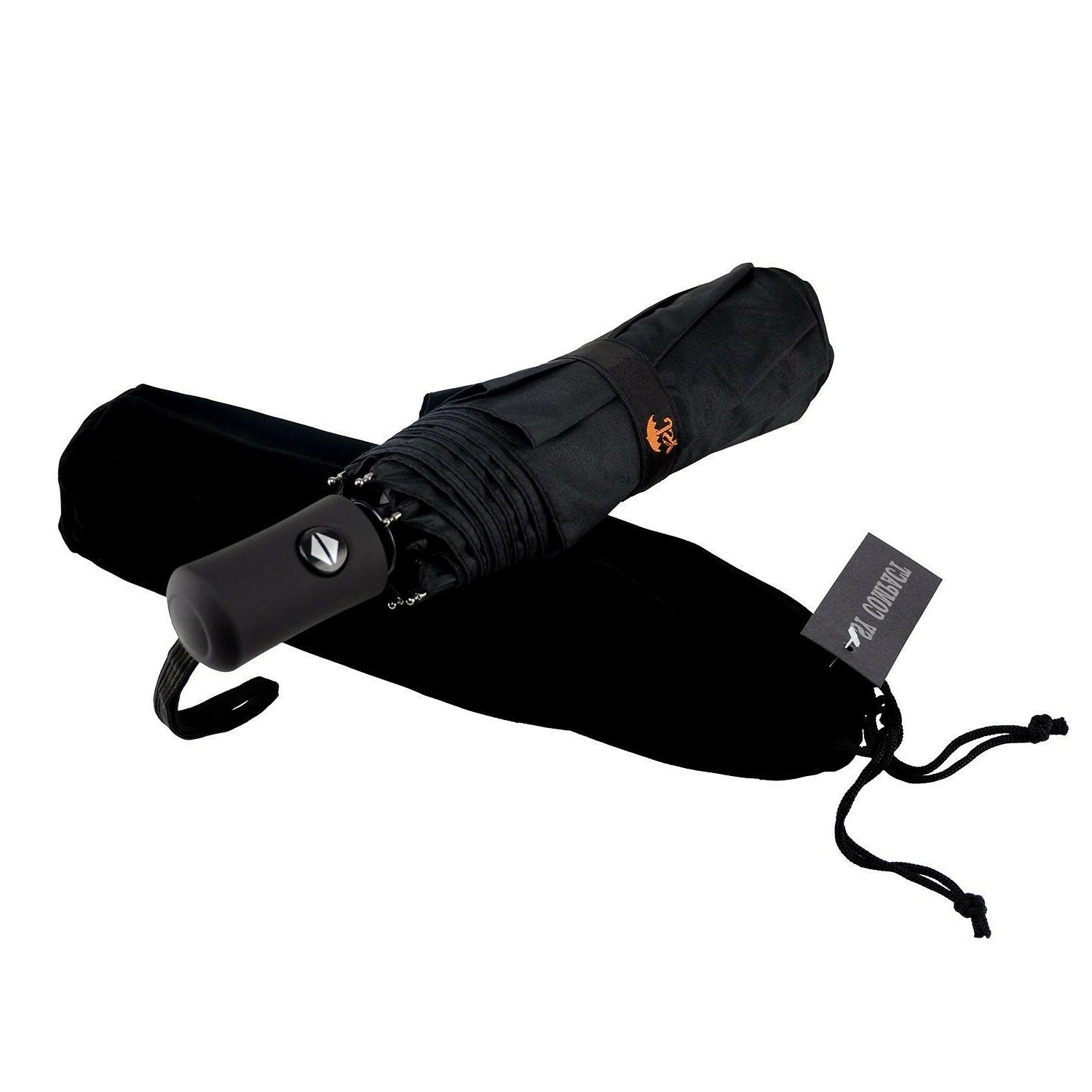 compact travel umbrella windproof auto open close