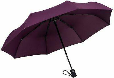 Crown Coast Eggplant Purple Travel Umbrella - 60 MPH Windpro