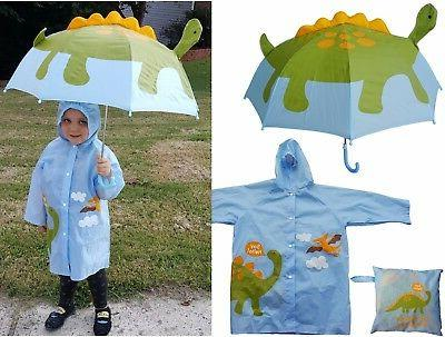 Dinosaur Print Pop-Up Umbrella & Raincoat Set-RainStoppers C