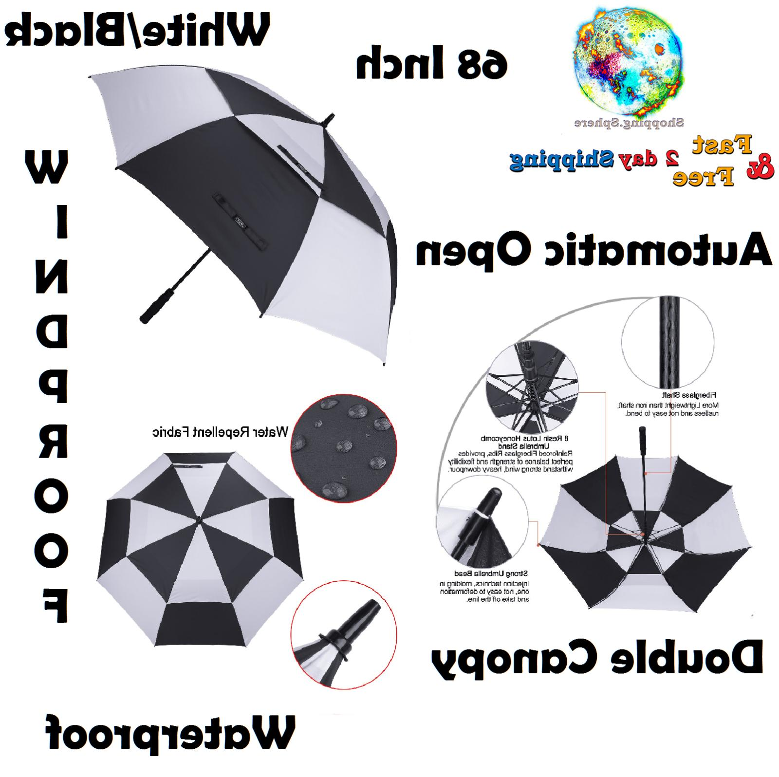 Double Canopy Golf Umbrella Windproof Vented Automatic Open