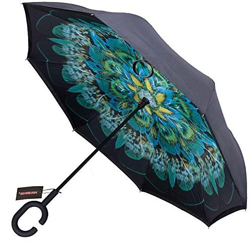 WASING Layer Umbrella Cars Windproof Straight for Rain Outdoor with Handle