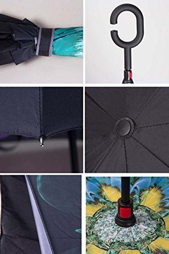 WASING Umbrella Windproof UV Protection Straight Rain Outdoor C-Shaped Handle