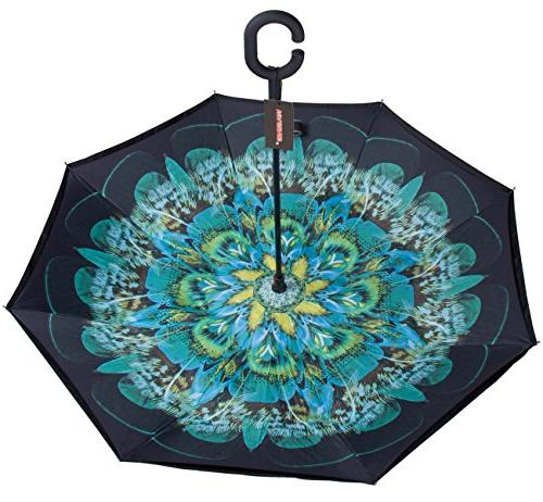 WASING Layer Windproof Straight Umbrella Rain Outdoor with C-Shaped Handle