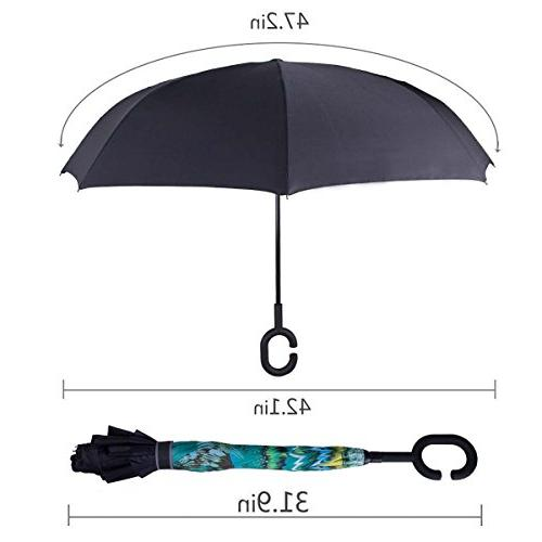 WASING Double Umbrella Reverse Windproof Protection Big Rain Outdoor C-Shaped Handle