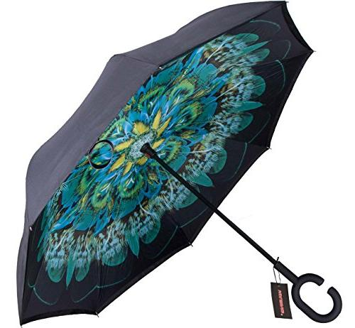 WASING Double Umbrella Cars Reverse Windproof Protection Big Straight Rain Outdoor with C-Shaped Handle