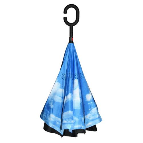 Double Layer Inverted Umbrella Windproof UV Protection C-Shaped Handle