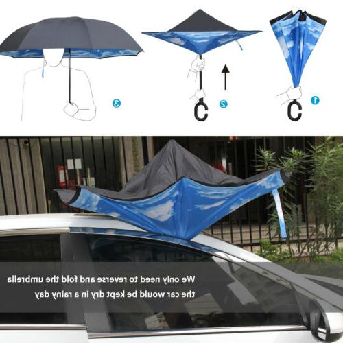 Double Layer Inverted Windproof UV Protection C-Shaped Handle