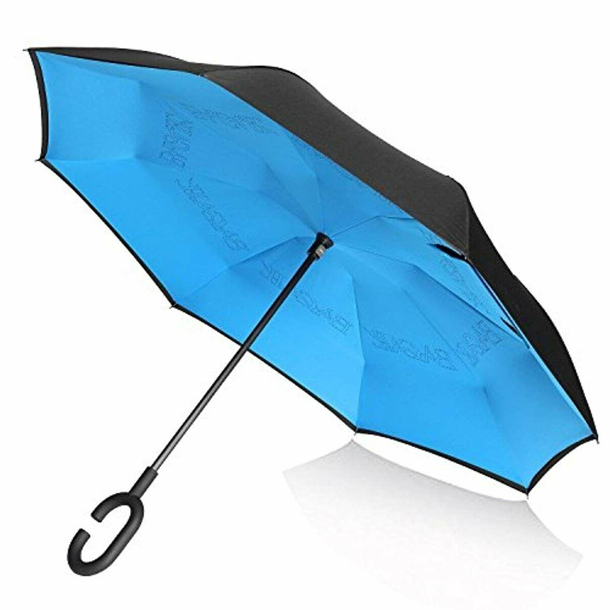 double layer inverted umbrellas reverse folding windproof