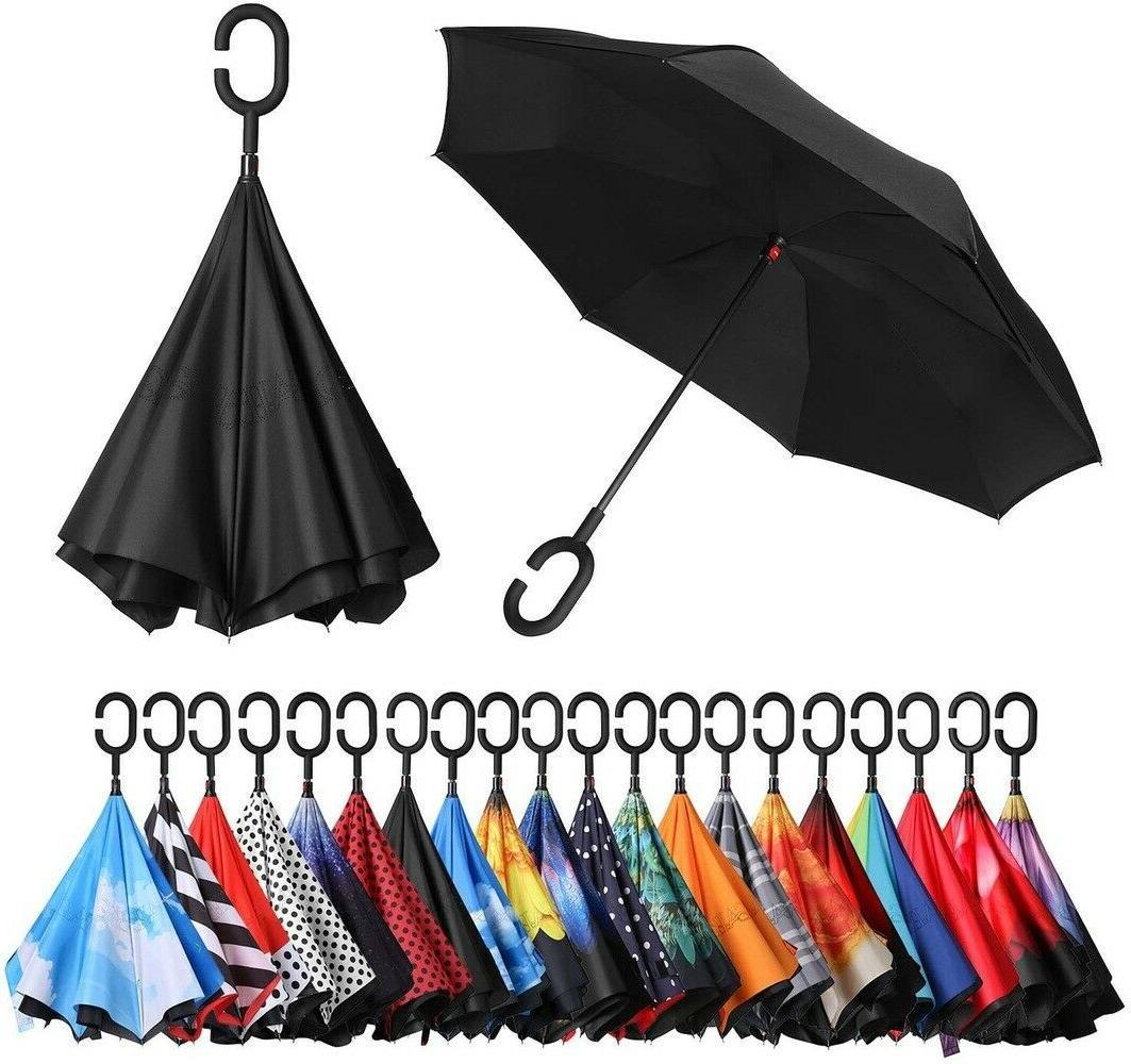 double layer reverse folding umbrella windproof