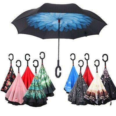 Upside Down Reverse-Umbrella C-Handle Inside-Out Inverted Wi