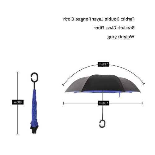 Double Layer Upside Down Umbrella C-Handle Inside-Out Inverted