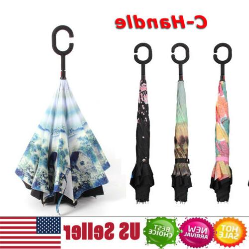 double layer windproof upside down reverse umbrella