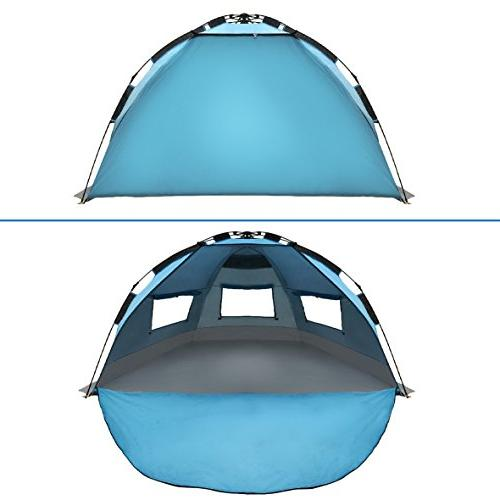 EasyGO Instant Beach Umbrella Tent Sun Shelter, Blue