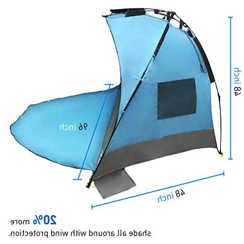 EasyGO Products Instant Beach Umbrella Sun Sport Blue