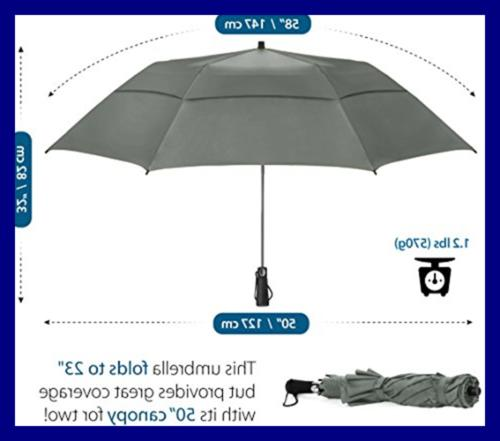 "EEZ 58"" Golf Umbrella Windproof Double Canopy St"