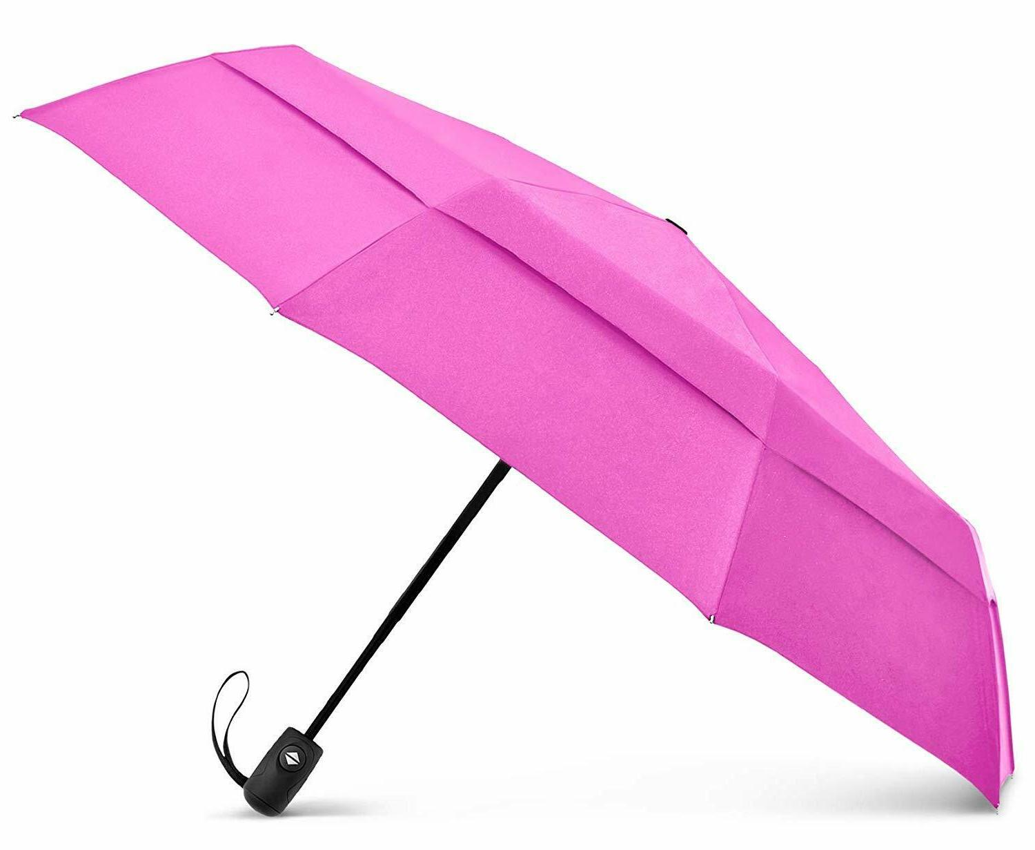 EEZ-Y Compact Travel Umbrella w/Windproof Double Canopy Auto