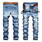 Fashion Men's Light Blue Ripped Destroyed Jeans Straight Sli