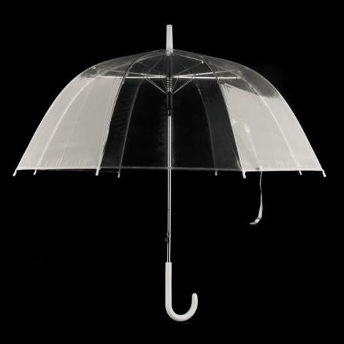 Fashion Transparent Umbrella Male Rain Handle Straight
