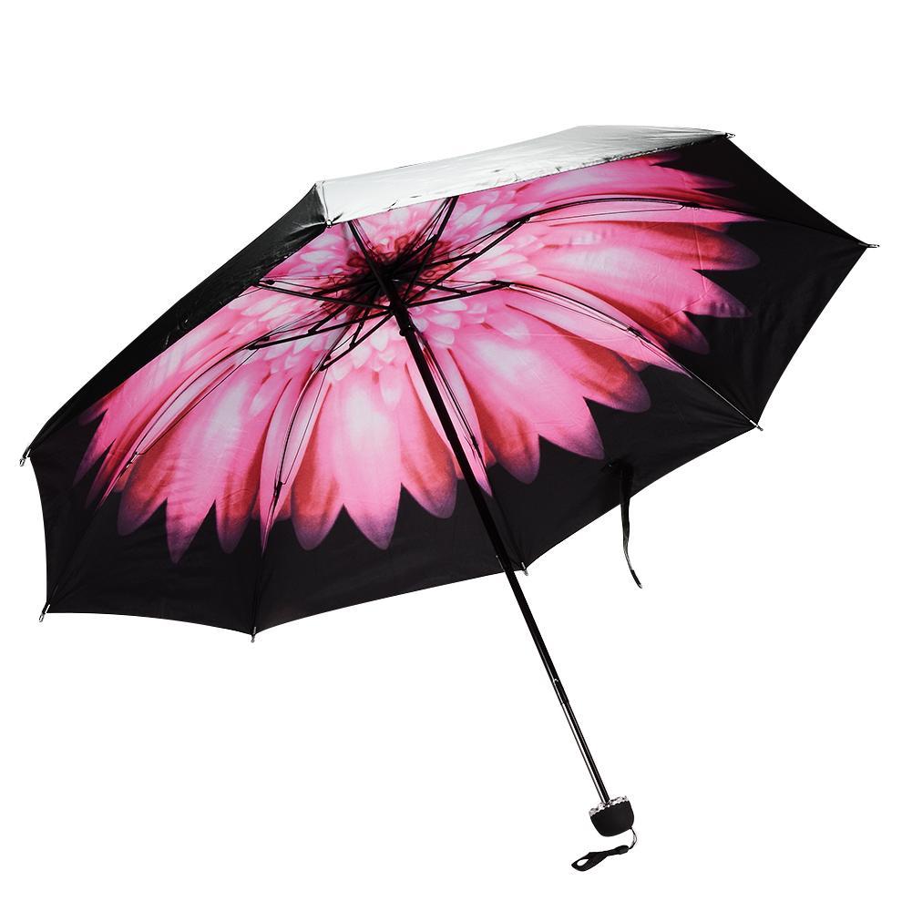 foldable rain umbrella travel floral parasol compact