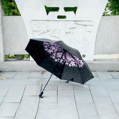 Folding Compact Umbrella Windproof Flower Rain Parasol Black