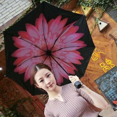 Folding Flower Rain Sun Parasol