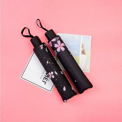 Folding Flower Parasol Black Coated