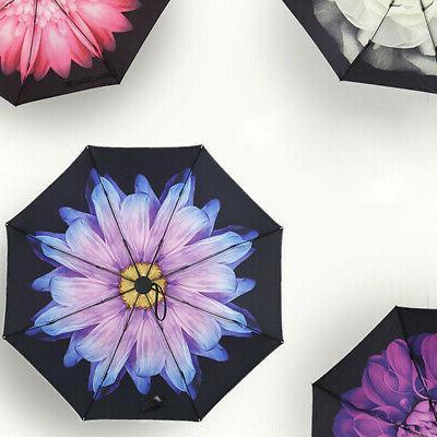 Folding Flower Rain Parasol Black Coated