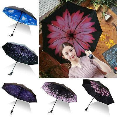 folding compact umbrella windproof flower rain anti