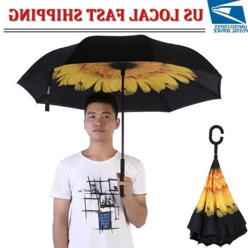 folding double layer inverted umbrella self stand