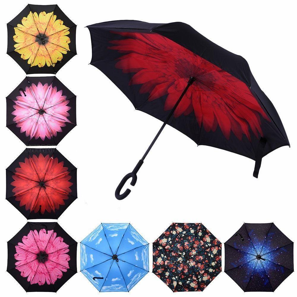 Folding Upside Down Reverse Umbrella C-Handle Double Layer I