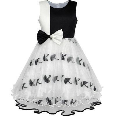 girls dress bow tie black white color